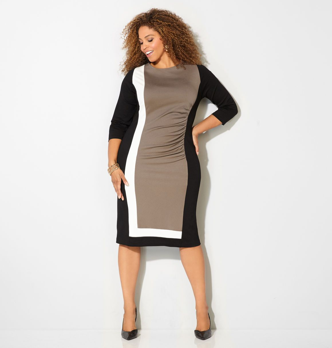 Shop beautiful new fall dresses in sizes 14-32 like the Colorblock Ponte  Dress available online at Traveller Location. Avenue Store