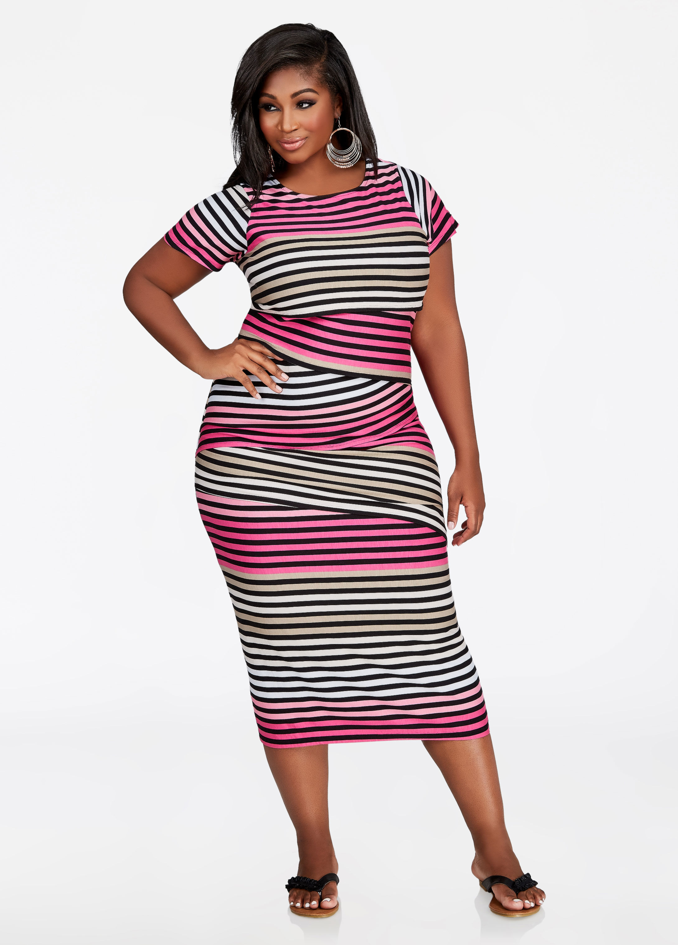Panel Stripe Layered Maxi Dress, Pink Yarrow