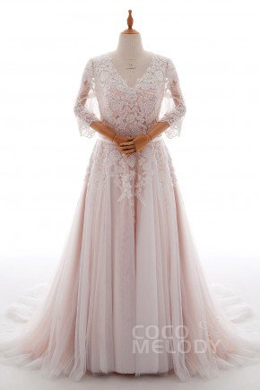 Wedding Dresses Size 44. A-Line Court Train Tulle and Lace Wedding Dress  LD4493
