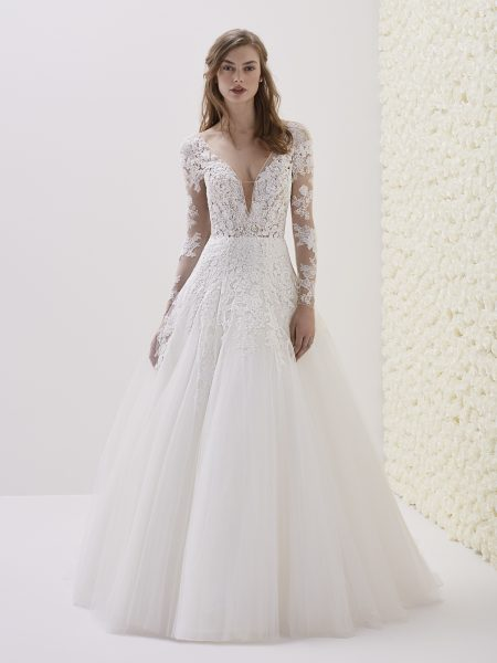 Deep V-neck Long Sleeve Lace A-line Wedding Dress by Pronovias - Image