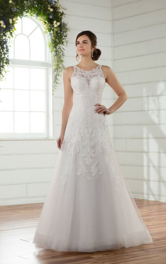 D2391 A-Line Wedding Dress with Beaded Sweetheart Neckline by Essense of  Australia