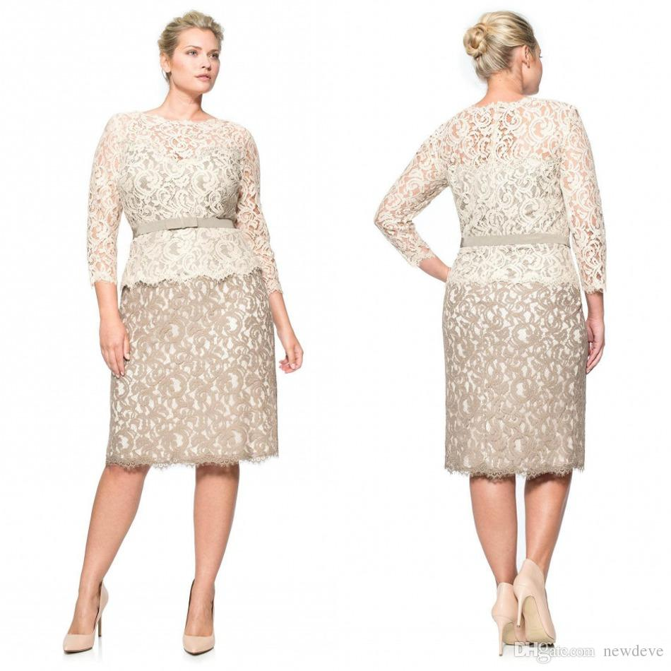 Plus Size Special Occasion Dresses Full Lace Bateau Long Sleeve Evening  Gowns Knee Length Sheath Mother Of The Bride Plus Size Clothing Stores  Online Plus