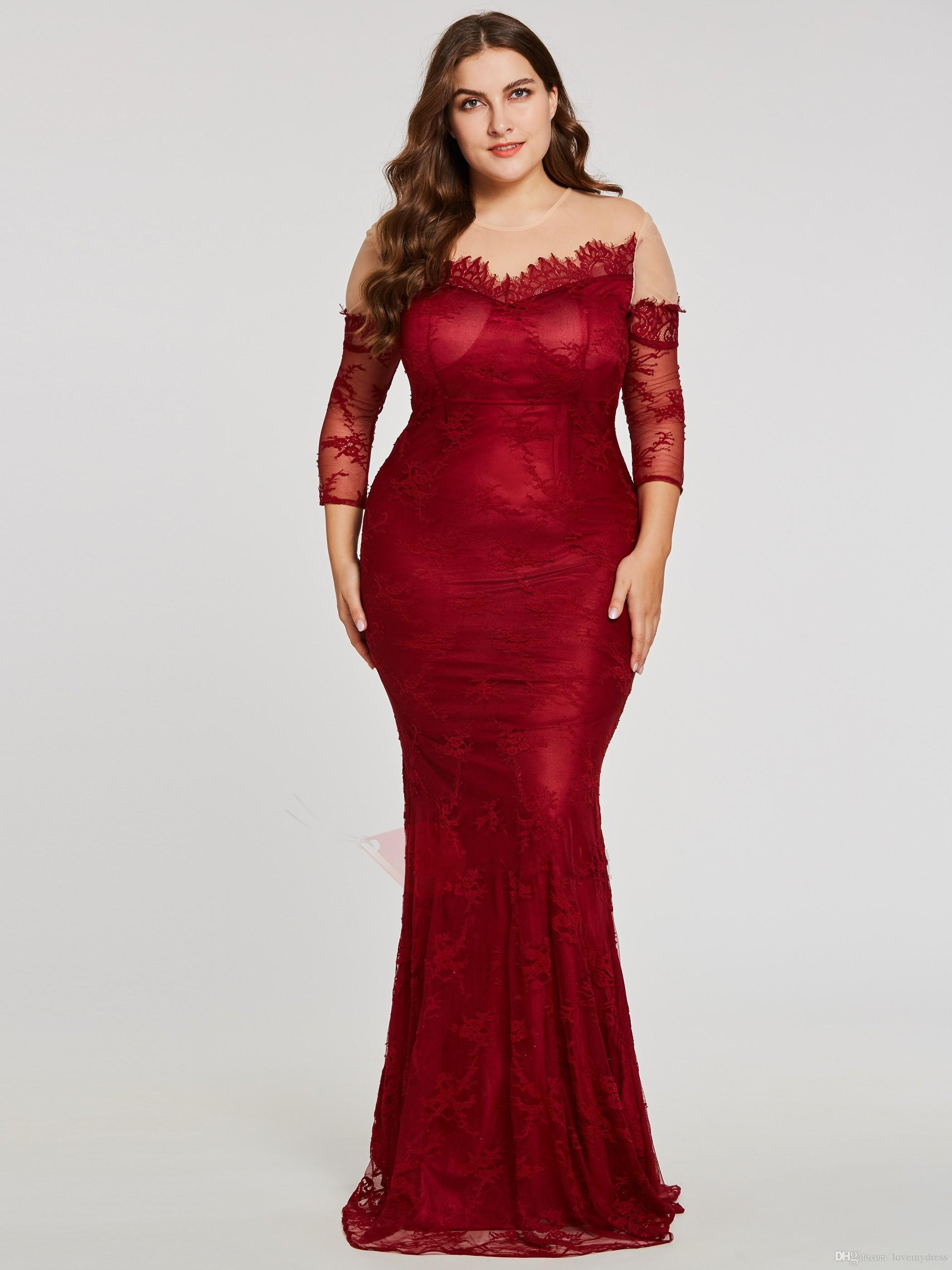 Wine Red Plus Size Special Occasion Dresses For Women Illusion Lace Sleeves  Sheer Neck 2018 Hollow Back Sheath Evening Prom Dress Cheap Maternity  Dresses