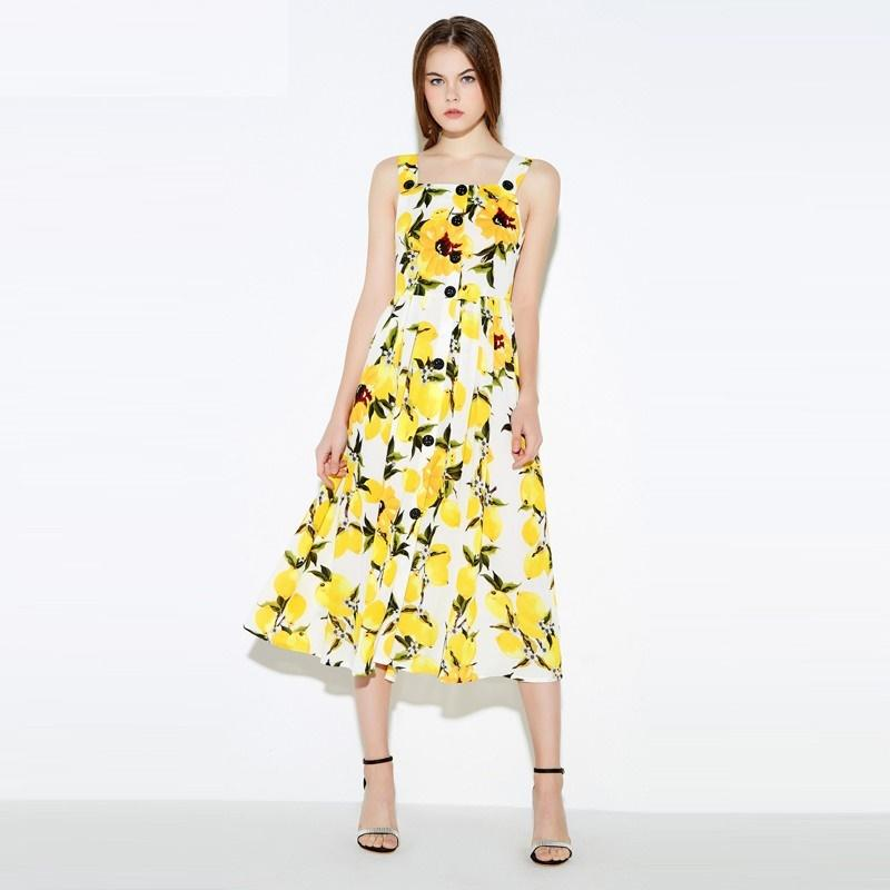 2016 brand new arrival fashion lemon floral print dress without sleeves  sheathed women dresses summer high
