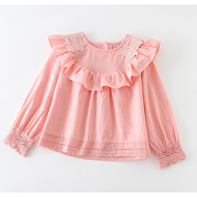 Girl Lace Shirt Child Clothes Pink/ White Spring Long Sleeved tops Girls  Kids Cotton Shirt