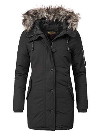 Khujo women's coat, winter coat, parka, YM-Mary - Black - X-Large