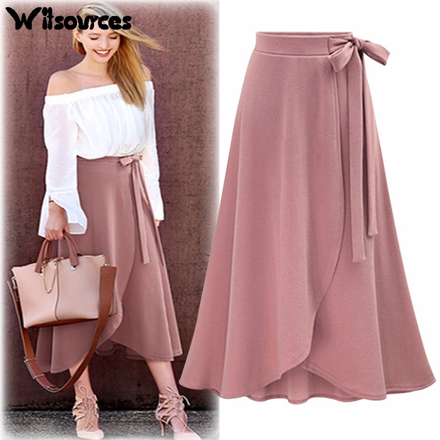 Witsources women irregular A line knee length skirts 2018 summer new  oversized plus size casual skirt
