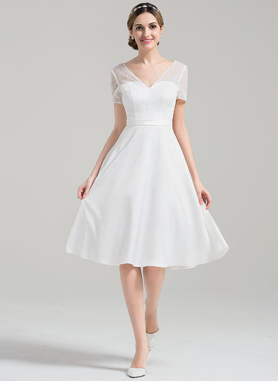 A-Line/Princess V-neck Knee-Length Satin Wedding Dress With Sequins
