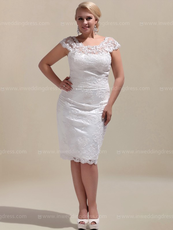 Knee Length Informal Plus Size Wedding Dress PS144