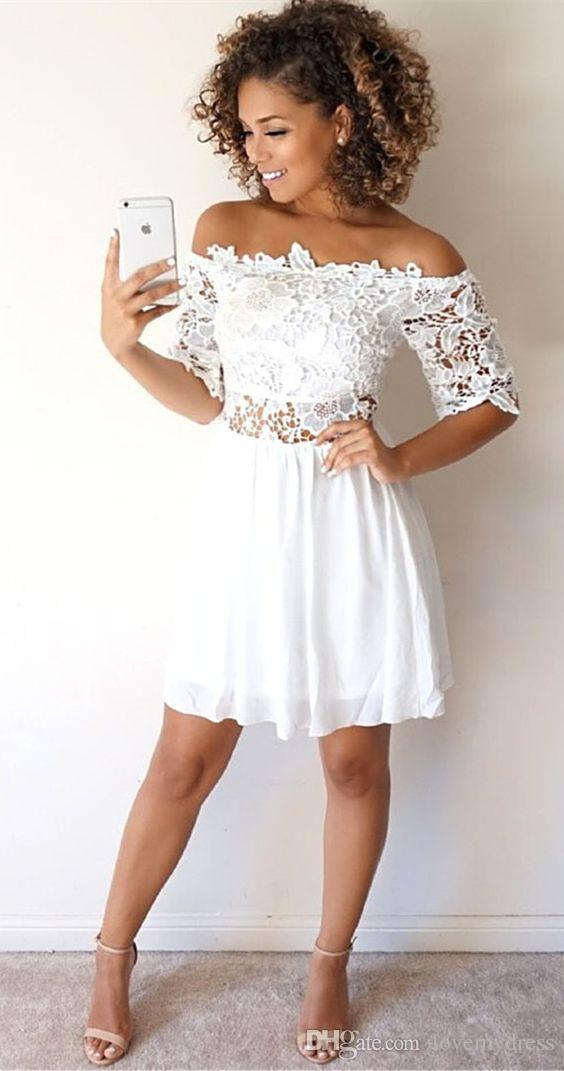 2018 White Lace Short Cocktail Prom Dresses Off The Shoulder Chiffon Two  Pieces Short Sleeves Cheap Designer Homecoming Party Formal Dress Sequined  Cocktail