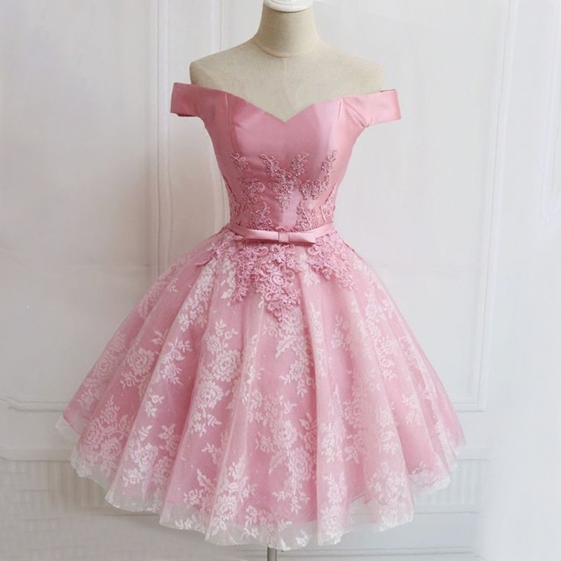 Ball Gown Off-the-Shoulder Short Pink Homecoming Dress with Appliques Sash