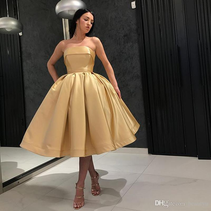 Gold Short Ball Gown Prom Dresses 2018 Plus Size Dubai Yousef Aljasmi  Simple Strapless Corset Back Keen Length Satin Homecoming Party Gowns Prom  Dresses
