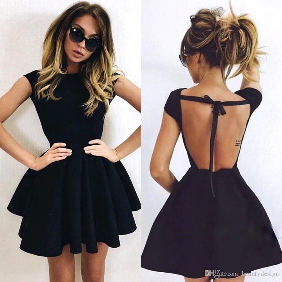 2018 Simple Cheap Little Black Cocktail Dresses Halter Ball Gown Backless  Homecoming Gowns Short Party Prom Dress BA3464 Petite Cocktail Dresses With