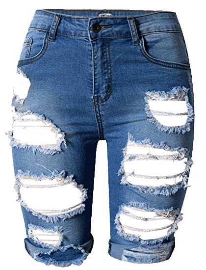 OLRAIN Womens High Waist Ripped Hole Washed Distressed Short Jeans 4 Blue