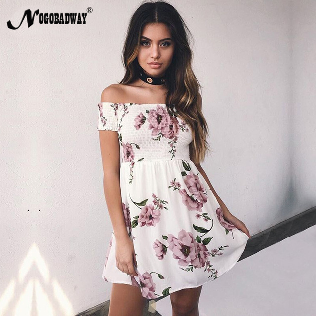 Flower print cute short women summer dress 2018 casual bohemian mini dress  off shoulder short sleeve