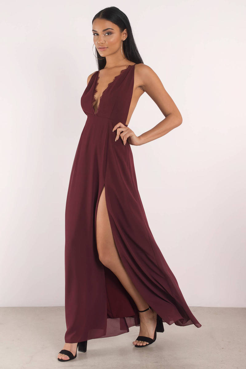 Raelyn High Slit Wine Maxi Dress