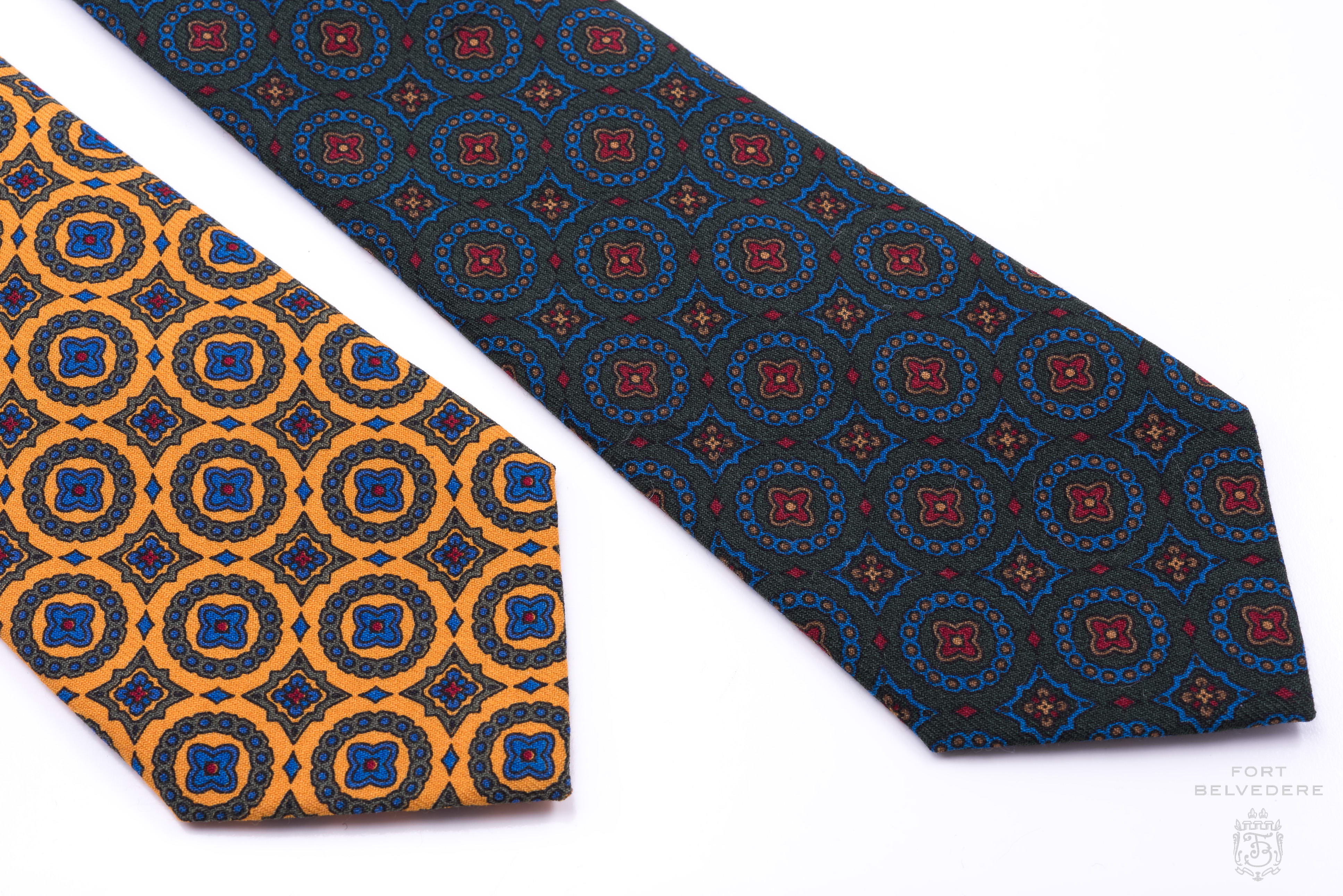 Wool Challis Tie in Sunflower Yellow with Green,Blue & Red Pattern - Fort  Belvedere