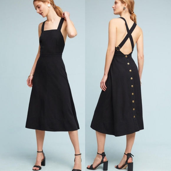 Anthropologie Dresses | Maeve Emory Apron Dress Black | Poshmark