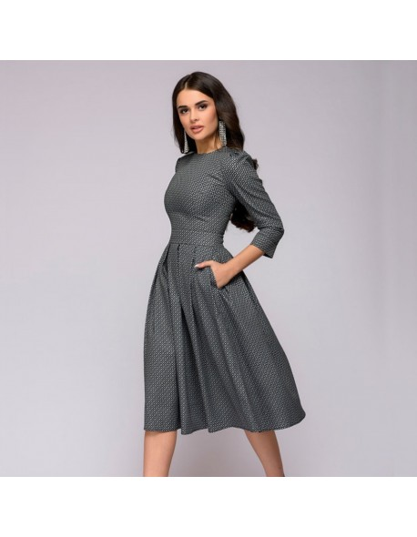 Women Dress 2018 Fall Printing With Pockets Casual Midi Party Dress