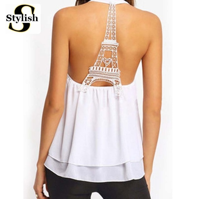 Eiffel Tower Tank Tops Women Sexy Sleeveless Backless Shirt Female