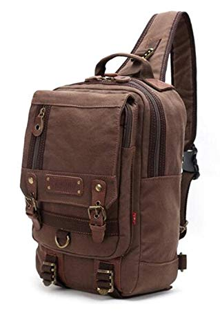 Amazon.com | Simplebiz Canvas Leather Backpack Men Single Strap