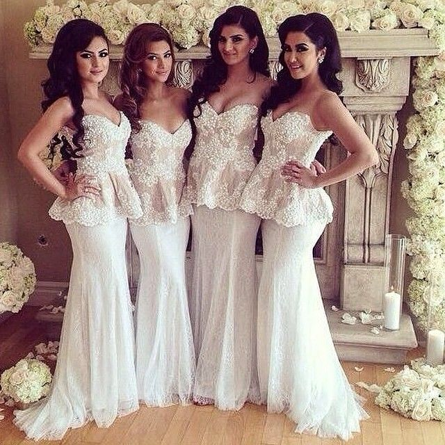Beautiful White Lace Bridesmaid Dresses Sweetheart Sleeveless
