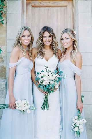 Beautiful Chiffon Light Blue Sexy A Line Long Cheap Bridesmaid