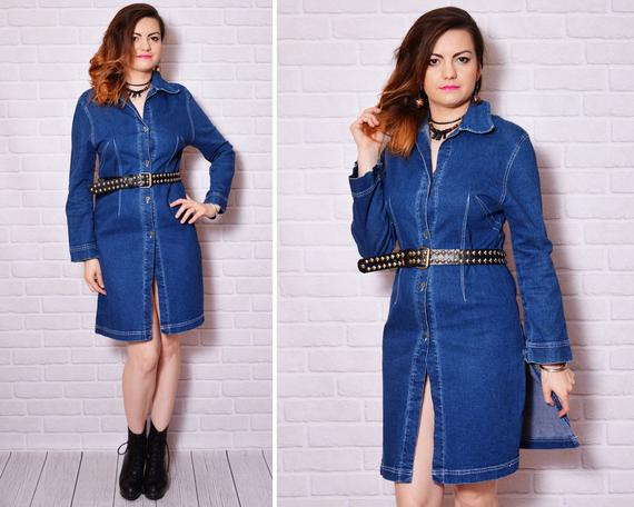 Denim Dress Jean Vintage Jeans Dresses Long Sleeve Buttoned | Etsy