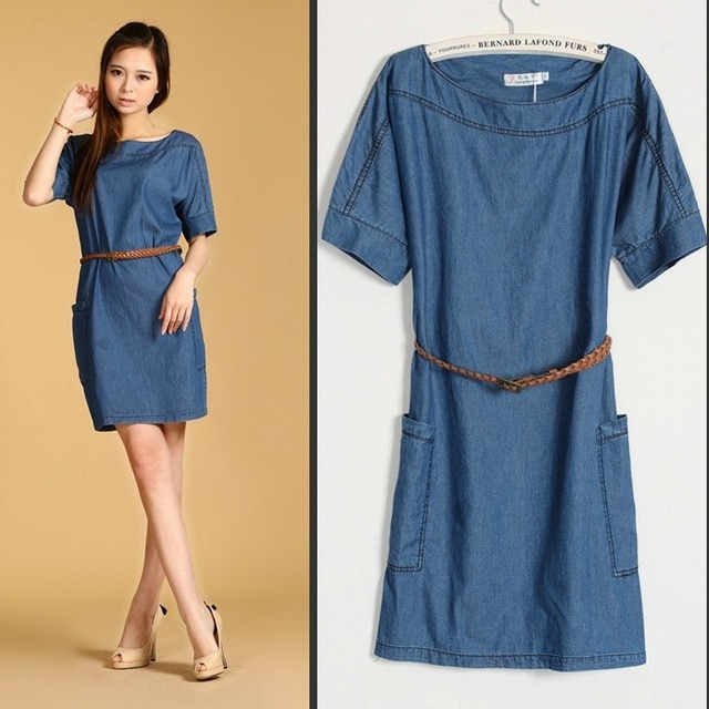 Plus Size New Fashion Women's Denim dresses,Beautiful Ladies' casual