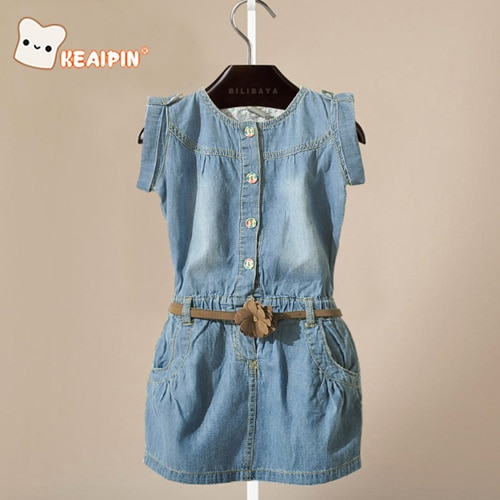 Girl clothing summer fashionable denim dress for girls brand kids