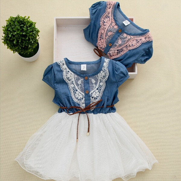 Lowest Price 2016 Kid Clothing Summer Denim Dress Brand Girl Jeans