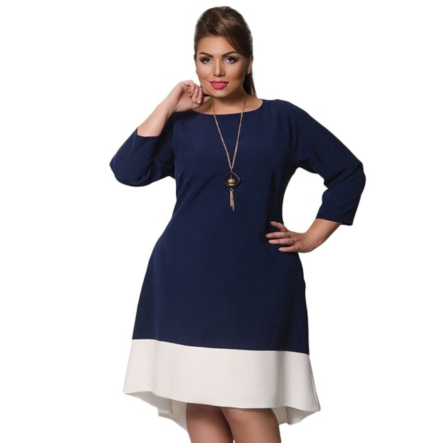 Spring 6XL Plus Size Women Dress Big Sizes long Sleeve Casual