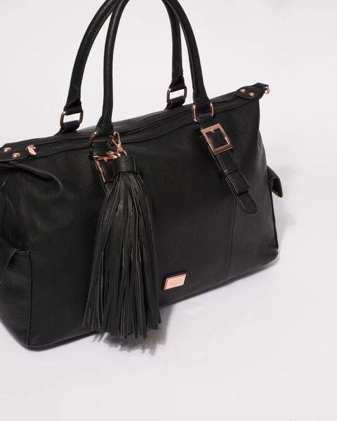 Black Jojo Tassel Weekender Bag With Rose Gold Hardware u2013 Colette by