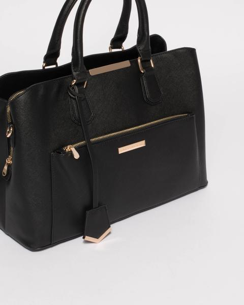 Black Saffiano Spencer Tech Tote Bag With Gold Hardware u2013 Colette by