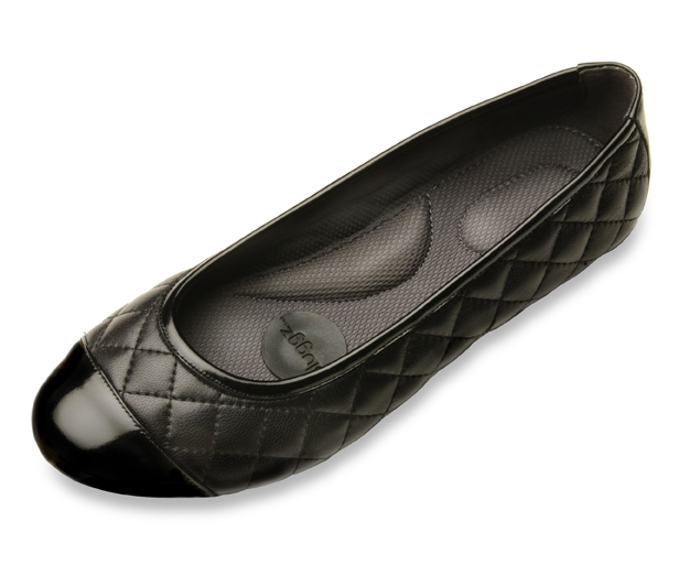 Womens Black Leather Ballet Flats - Quilted Leather Shoes By Pluggz.
