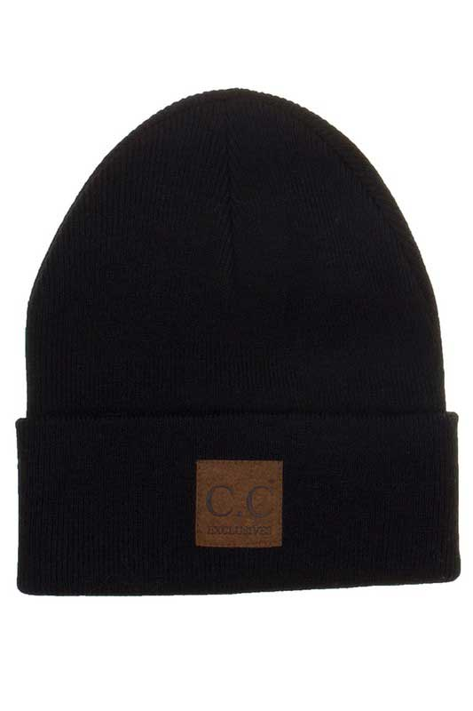 CC Beanie Cuff Beanie with Patch for Men in Black HTM-1-BLACK