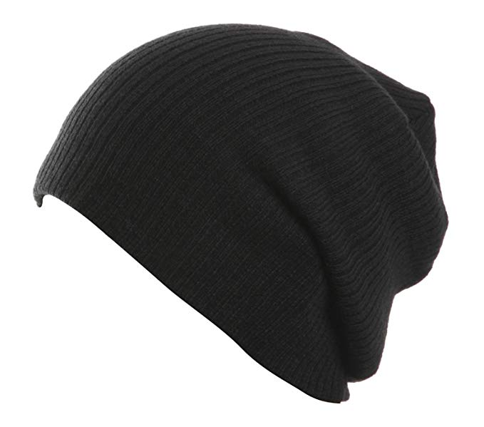 Plain Black Slouch Beanie at Amazon Women's Clothing store:
