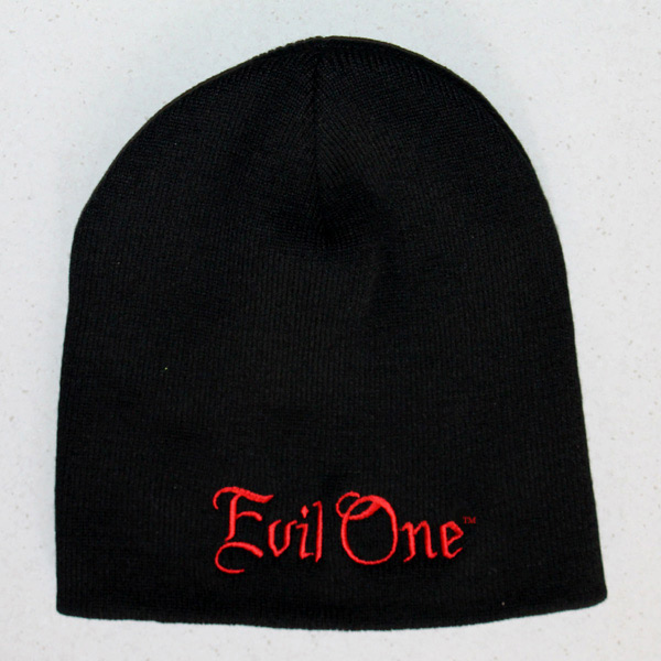 Black Beanie with Red Old English Letters - Biker Beanies | Evil One®