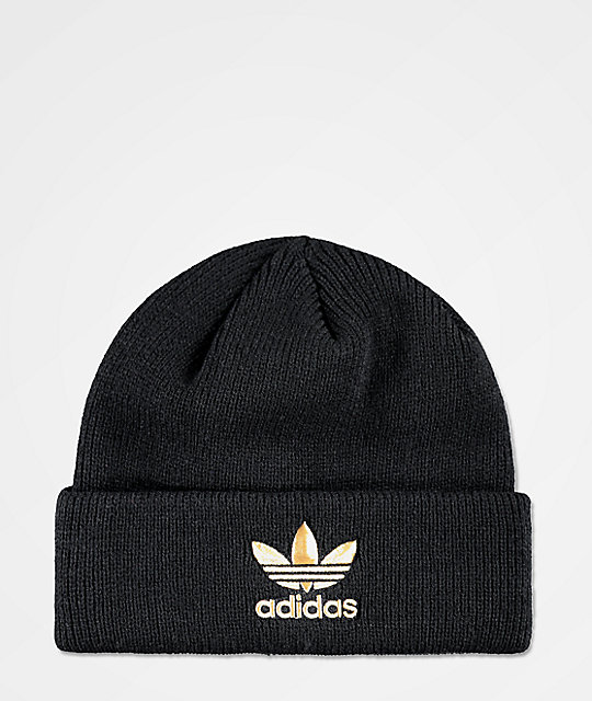 adidas Men's Black & Gold Foil Beanie | Zumiez