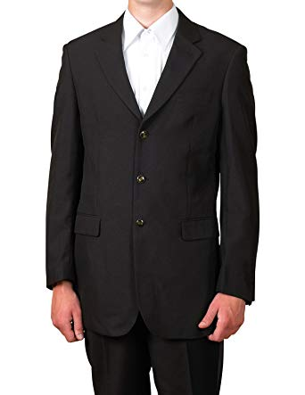 New Mens 3 Button Single Breasted Black Blazer Sportcoat Suit Jacket