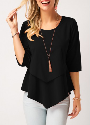 Asymmetric Hem Round Neck Layered Black Blouse