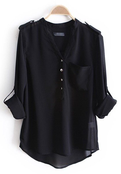 Black Epaulet Buttons V-neck Pockets Chiffon Blouse - Blouses - Tops
