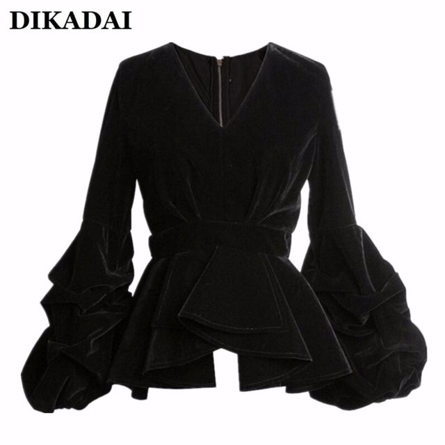 Women Sexy Puff Sleeve Blouse Shirts Black Velour Casual Ruffle Wrap