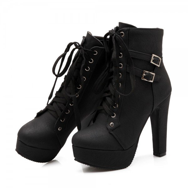 Women's Black Lace Up Boots Platform Chunky Heels Ankle Booties for