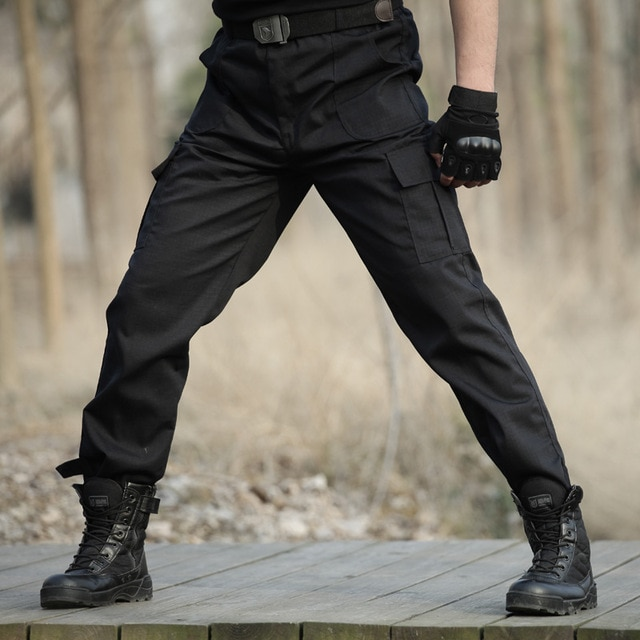 Black Military Tactical Cargo Pants Men Army Tactical Sweatpants