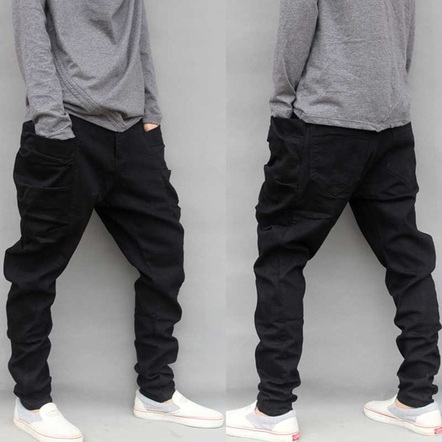 Casual Plus Size Black Cargo Pants For Men Cotton Loose Baggy Harem