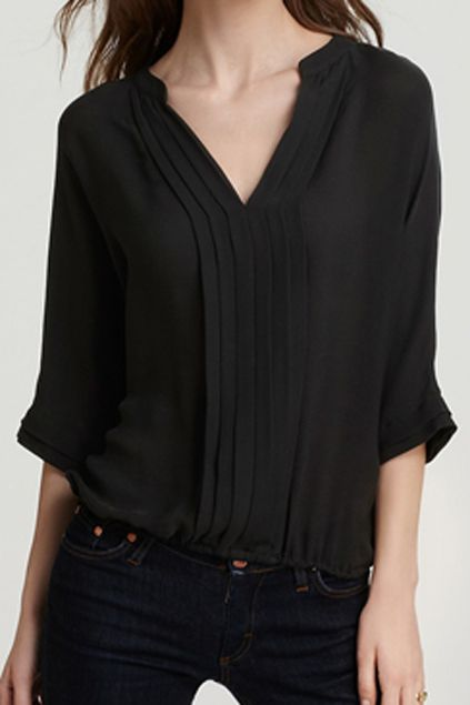 V-neck Crop Sleeve Pleated Black Chiffon Blouse | Fashionista