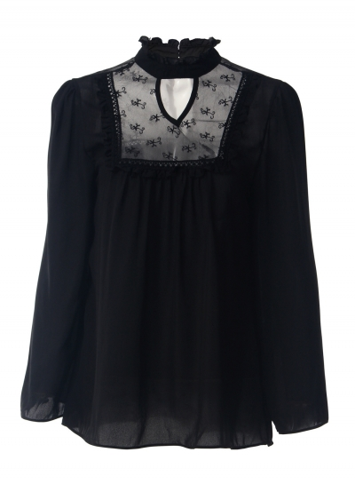 Women's Solid Long Sleeve Lace Chiffon Blouse - ROAWE.COM