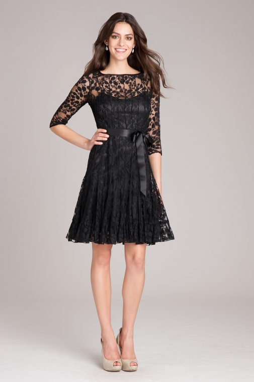 ¾ Sleeve Lace Fit and Flare with Bow | Teri Jon