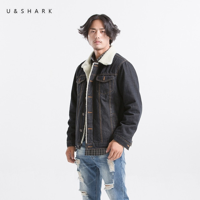 U&SHARK Mens Black Denim Jackets Men Vintage Style Wool Liner